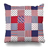 red and white chevron quilt - Kutita 16 x 16 inch Throw Pillow Covers,Usa Americana Patchwork Red White Blue Quilt Pattern Double-sided Sofa Cushion Cover Couch Bed Pillowcase Home Gift Decorative Hidden Zipper Design