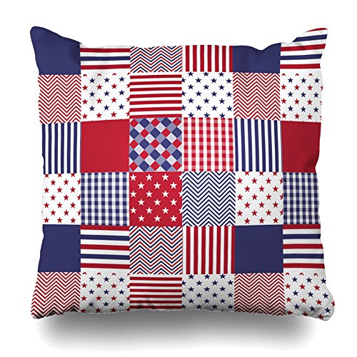 (Kutita 16 x 16 inch Throw Pillow Covers,Usa Americana Patchwork Red White Blue Quilt Pattern Double-sided Sofa Cushion Cover Couch Bed Pillowcase Home Gift Decorative Hidden Zipper Design )