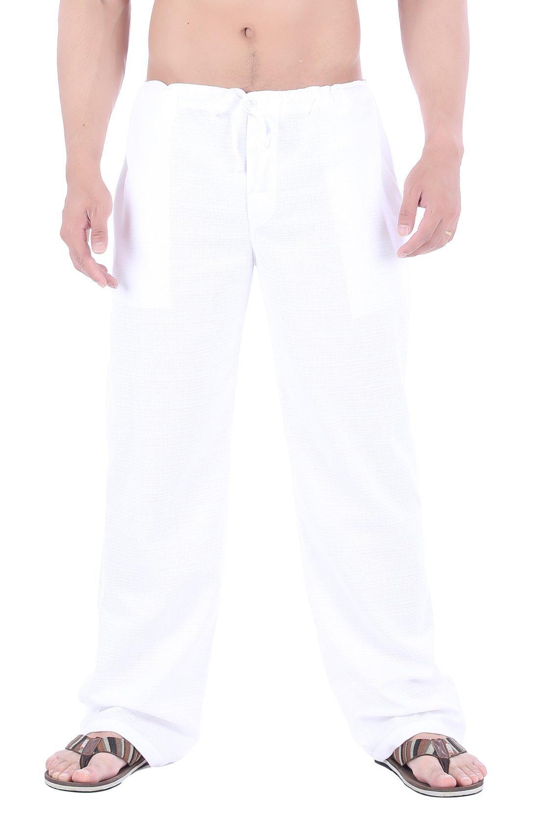 CandyHusky Men Cotton Straight-Leg Drawstring Summer Casual Tai Chi Yoga Pants (M, White)