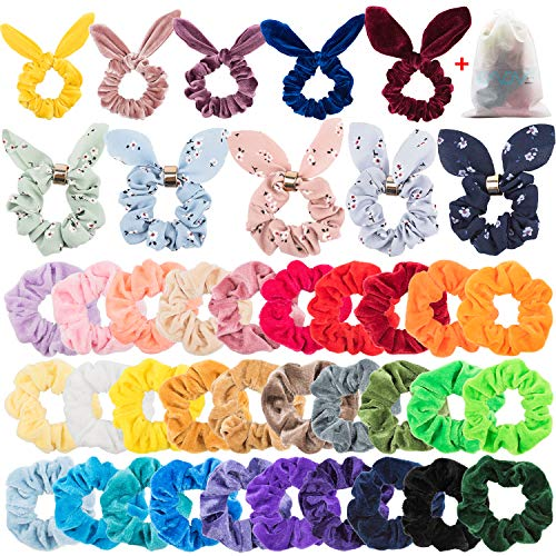 (EAONE 40Pcs Rabbit Ear Hair Scrunchies Bunny Velvet Scrunchies Floral Elastic Hair Bands Floral Bow Scrunchy Bobbles Ponytail Holder for Women Girls and Ladies)