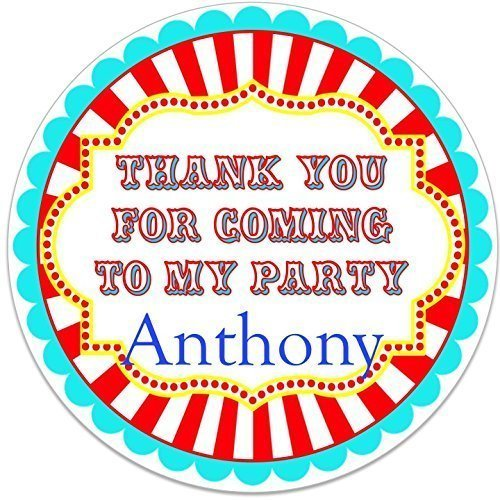 CARNIVAL CUSTOM BIRTHDAY PERSONALIZED ROUND PARTY STICKERS FAVORS VARIOUS SIZES