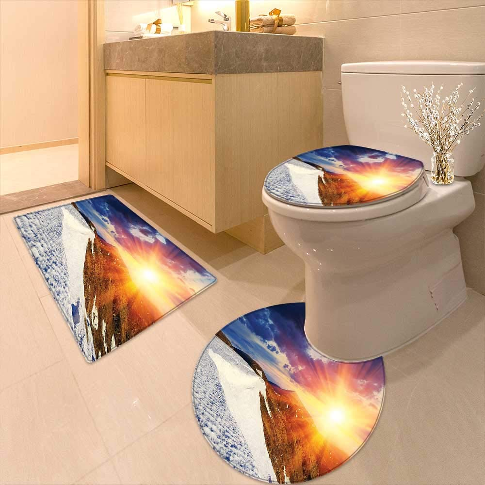 Printsonne 3 Piece Toilet mat Set Sunshine Clouds Nature Mountain and Valley Sun Divider in College Landscape Home White 3 Piece Shower Mat Set