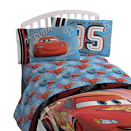 - Cars Red & Blue Bedding Set (Toddler) 4pc