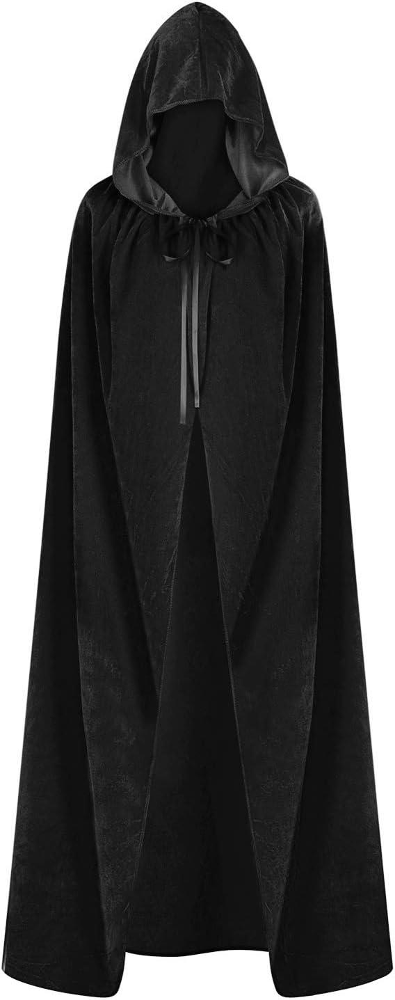 Halloween Cloak Cape Hooded Velvet Wizard Vampire Witch Wedding Gothic Medieval
