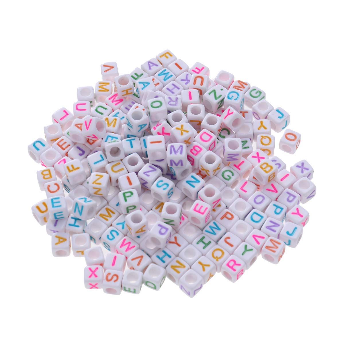 Blanco Artibetter Perlas de la Letra del Alfabeto 200pcs Perlas del Cubo para la joyer/ía Que Hace Pulseras Collares llaveros