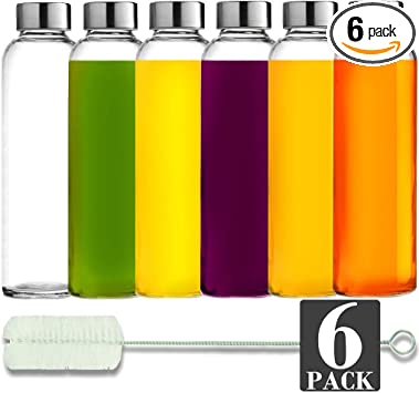 Transparent Bottles with Lid for Juicing Beverage Storage Reusable Carrying Loop