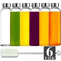 Brieftons Glass Water Bottles: 6 Pack, 18 Oz, Stainless Steel Leak Proof Lid, Premium...