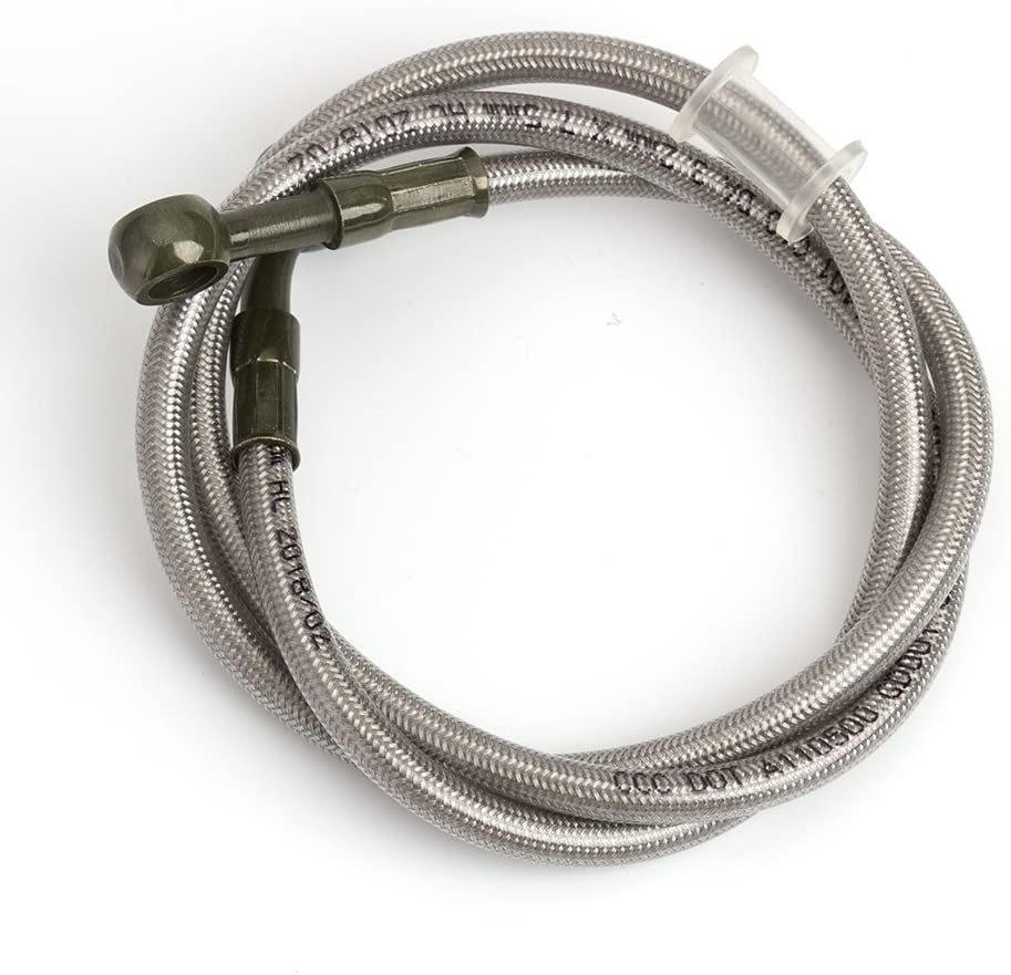 Motorcycle Silver Brake Oil Hose Line 39cm-150cm Stainless Steel Braided Fuel Pipe Tube Pipe 45cm//17