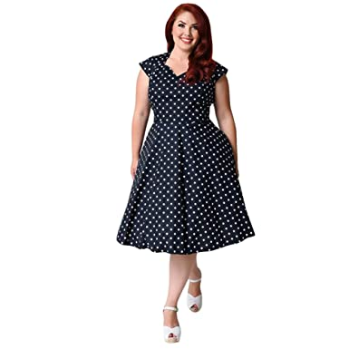 Ek Plus Size Style Polka Dot Pattern Vintage Party Prom Club