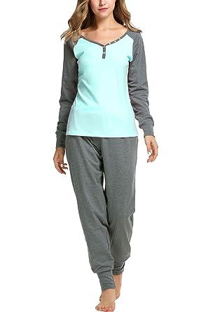 5b4639a8f795 Sweetnight Women s Boat Neck Long Sleeve Shirt Elastic Waist Pants Sleepwear  Pajamas Set (S