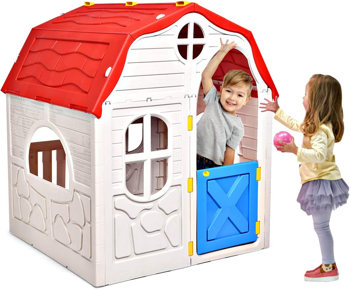 HONEY JOY Outdoor Playhouse for Kids, Cottage Indoor Playhouse with Working Doors & Windows, Pretend Play House Imagination Playset Toy for Toddlers Boys Girls