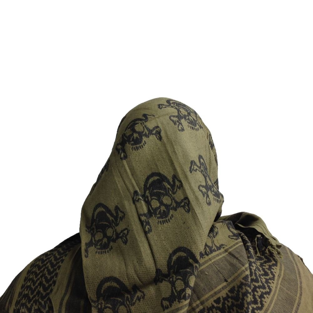 Maddog Sports Shemagh Tactical Desert Scarf Skull Crossbones Jaket Army Gear Import Tad Olive Outdoors
