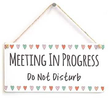 meeting in progress do not disturb functional hanging door sign