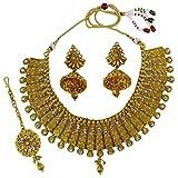 Matra Goldtone Ethnic Kundan Stone Indian Choker 3 Pcs Necklace Set Traditional Jewelry