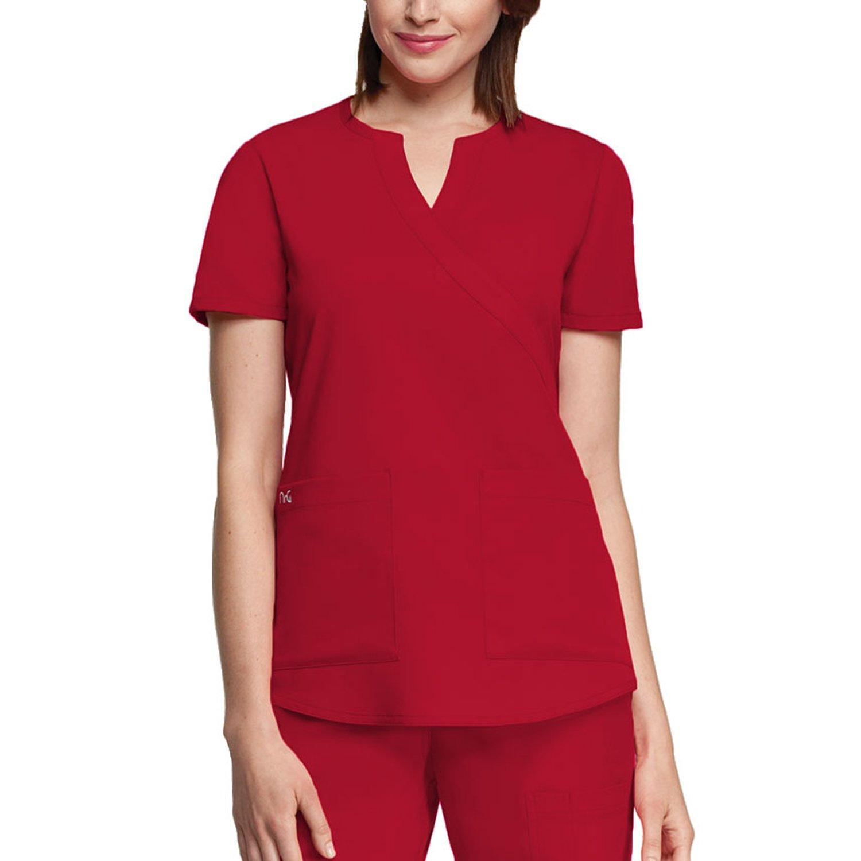 73e9681040f Amazon.com: Barco NrG Women's Junior Fit 2 Pocket Mock Wrap Panel Scrub  Top: Clothing