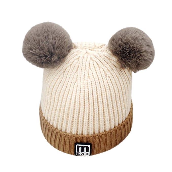 Topgrowth Cappello Bambina Berretti Invernali Ragazza Crochet Cappello A  Maglia Bimbo Caldo Cappello Doppio PON di f7cf6642a22b