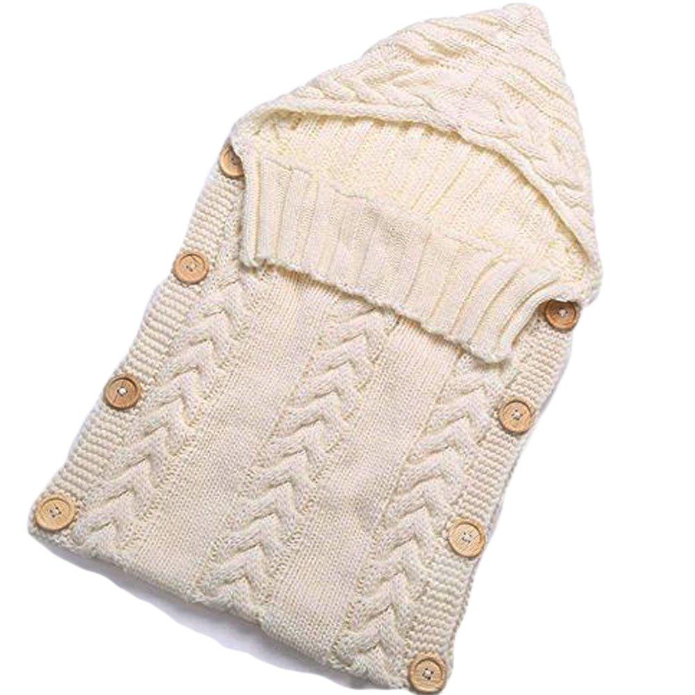 Neugeborenes Baby Gestrickt Wickeln Swaddle Decke Schlafsack für 0-12 Monat Baby (white) cocoon-break