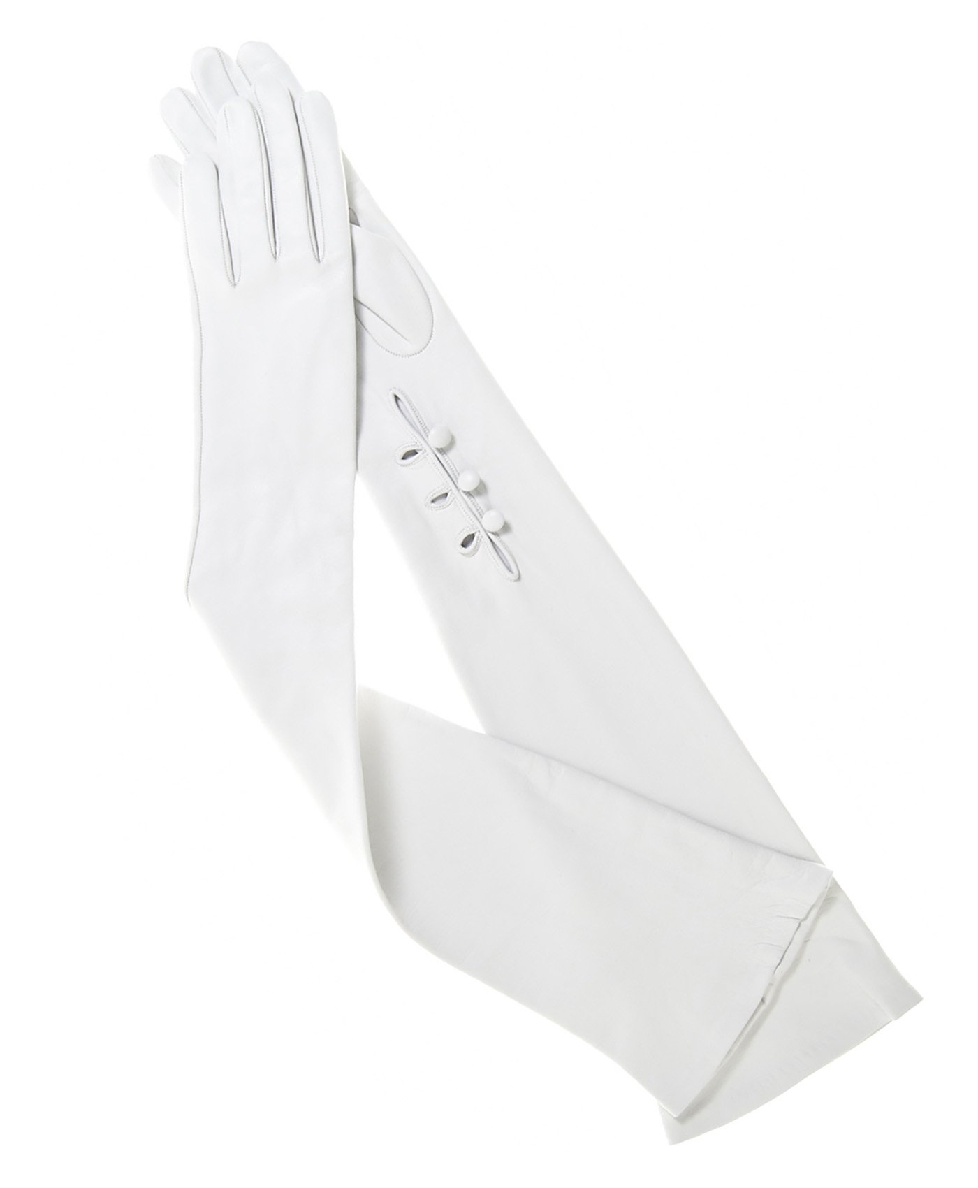 Fratelli Orsini Women's Italian Silk Lined 12-Button Length Bridal Gloves Size 7 Color Ivory