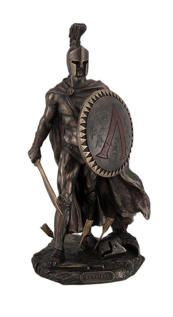 Veronese Design Spartan King Leonidas with Sword and Shield Bronzed Statue by JFSM INC