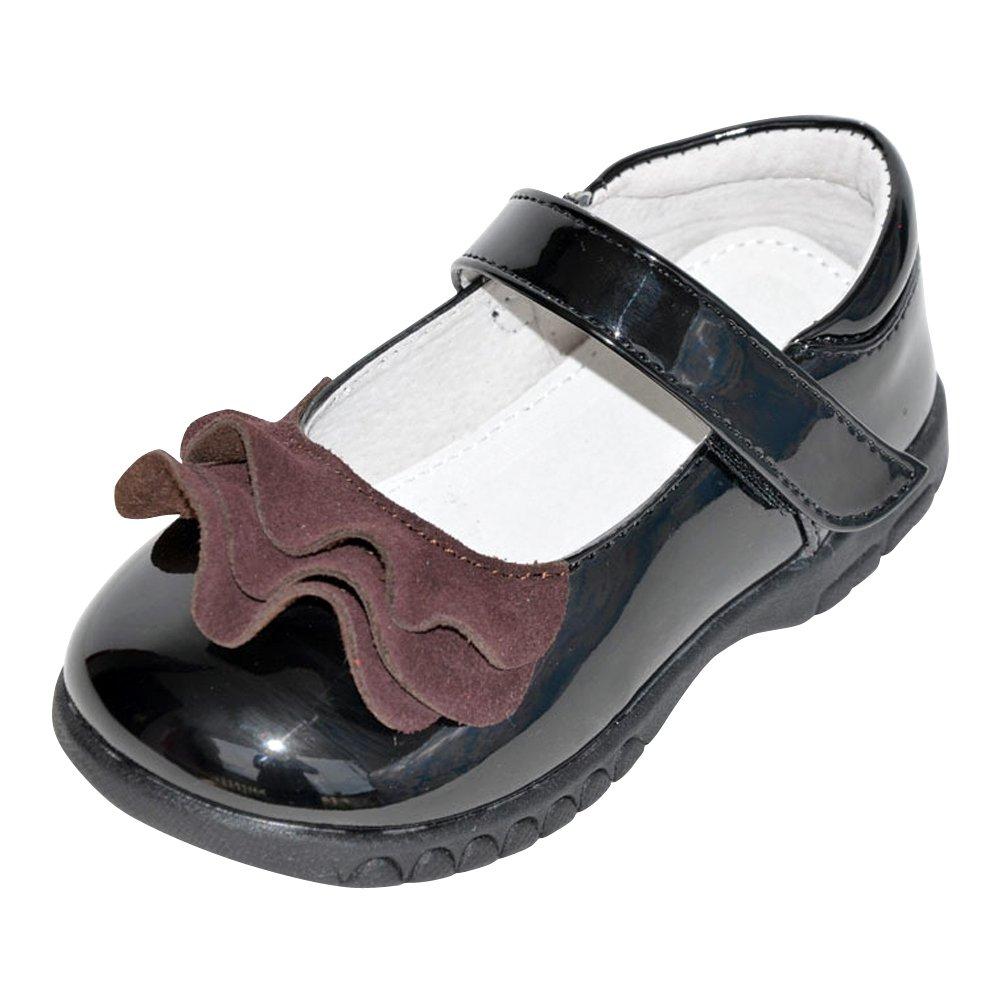 Toddler//Little Kid Tortor 1Bacha Kid Girl Leather Flounce Dress Mary Jane Flat Shoes