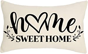 4TH Emotion Farmhouse Pillow Cover Family Saying Home Sweet Home Love Heart Decorations Cushion Case for Sofa Couch Polyester Linen 12x20 Inches