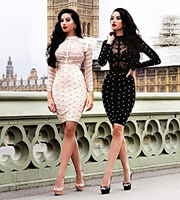 Hego Women's Autumn Mesh Rivets Studded Long Sleeve Bandage Party Dress H1577
