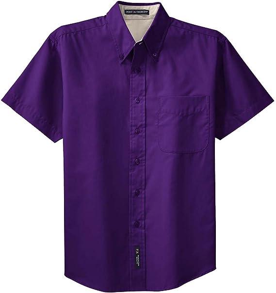 Sykooria Men Short Sleeve Button Down Shirt Plain//Plaid Business Casual Cotton Shirt Regular Fit Tops with Pocket S-XXL