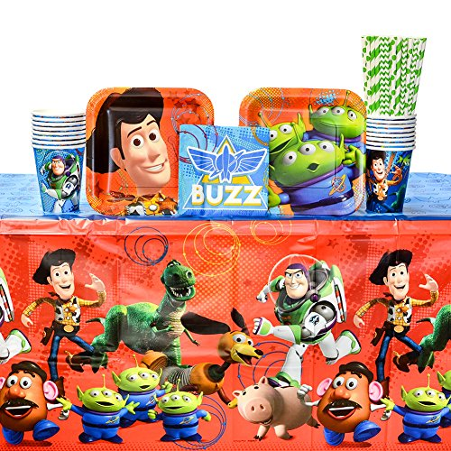 Toy Story Party Supplies Pack for 16 Guests: Straws, Dessert Plates, Beverage Napkins, Cups, and Table Cover for $<!--$29.99-->