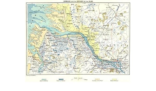 Map Of Germany Hamburg.Amazon Com Germany Hamburg Estuary Of Elbe C1885 Old Map