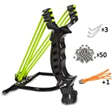 Professional Slingshot Wisdoman Stainless Steel Outdoor Hunting Sling Shot High Velocity Catapult with 2 Rubber Bands and 50 Extra Slingshot Ammo