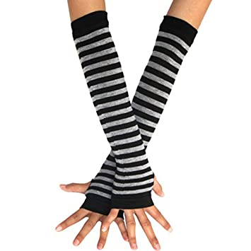 United Oddsocks Black Long Arm Warmers Sleeve Spots /& Stripes Fingerless Gloves