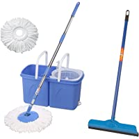 Gala Twin Bucket Spin Mop with 2 Refills and 1 Liquid Dispenser (Blue) & Gala Double Lip Wiper (Multicolor)