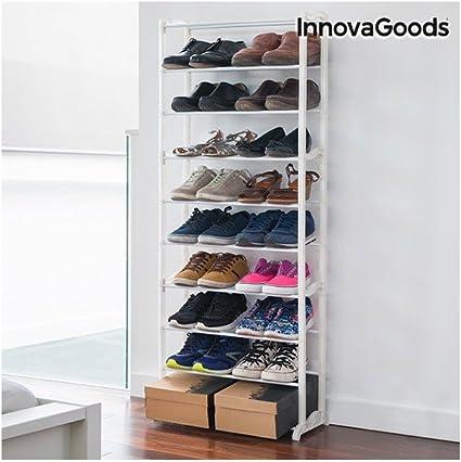 innovagoods meuble a chaussures avec capacite 30 paires acrylique blanc 50 x 135 x 25 cm