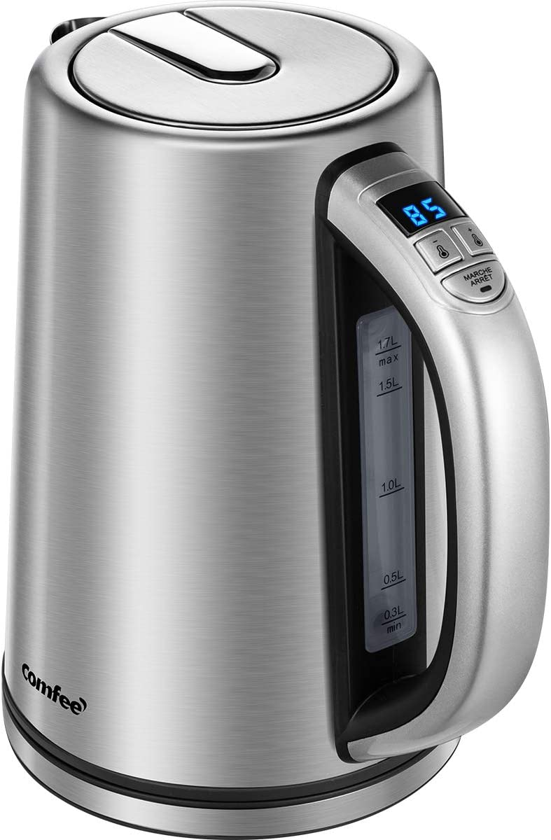 Comfee Electric Variable Temperature Control Stainless Steel Water Kettle with Digital Handle 1.7L