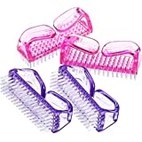 eBoot 4 Pieces Handle Nail Brush Nail Hand Scrubbing Cleaning Brush (Pink and Purple)