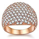 White Diamond Accent Dome Ring - Cluster Cubic Zirconia Paved Statement Wide Bands Size 5-11 (Rose Gold, 10)