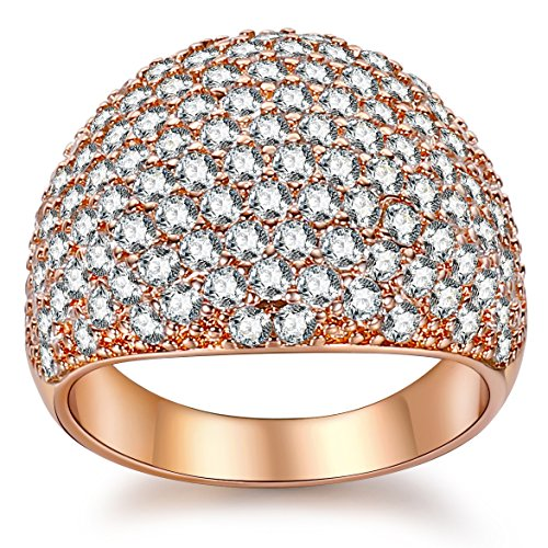 White Diamond Accent Dome Ring - Cluster Cubic Zirconia Paved Statement Wide Bands Size 5-11 (Rose Gold, 9.)