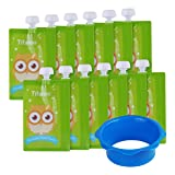 12 Pack 7 oz Owl Reusable Baby Food Squeeze Storage