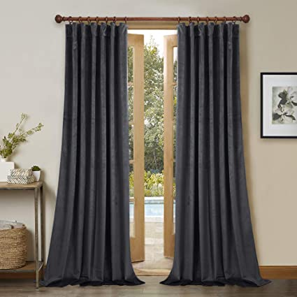 gray velvet curtains dove grey 108 inches gray velvet curtains rod pocket back tab luxury textured drapes heat amazoncom