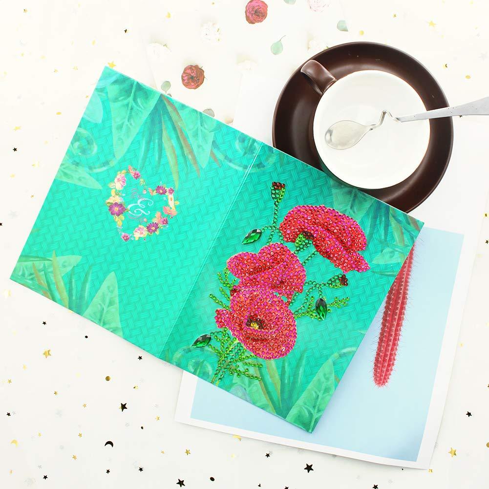 Broadroot 6 st/ücke Gru/ßkarten DIY Diamant Painting Malerei Stickerei Feiertag Geburtstag Karte Postkarten Geschenk Handwerk