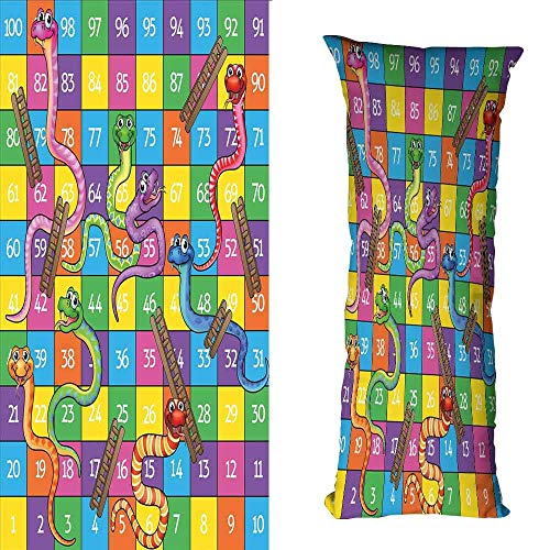 DuckBaby Customized Pillowcase Board Game Cute Snakes Smiling Faces Numbers in Squares Ladders Childrens Kids Play Print Anti-Fading W19.5 xL63 - Utah Utes Satin