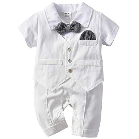 Baby Boy Bow Tie Short Sleeve Gentleman Bodysuit Outfit Grey Black