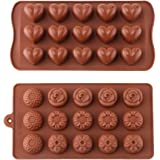 CCINEE1 Pack Heart Silicone Chocolate Candy Mould +1 Pack Flower Chocolate Silicone Mould,Silicone Chocolate Candy Mould SetCoffee.