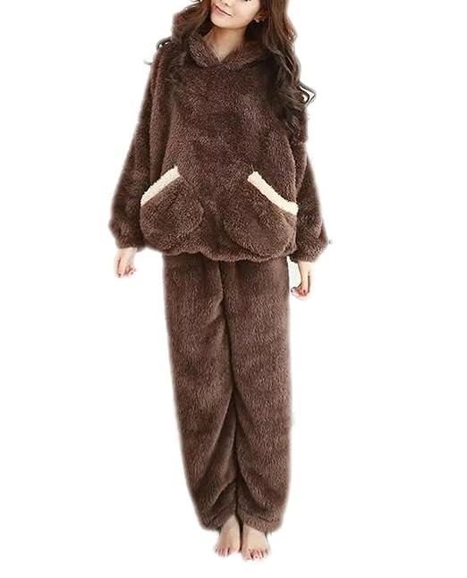 Pijama De Oreja De Oso Cálido De Invierno Para Mujer Con Pantalón,CoffeeColor-XL