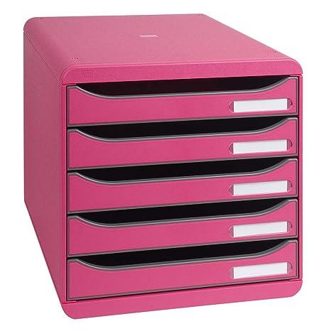 Exacompta 309784D - Caja organizadora, 5 cajones, color frambuesa: Amazon.es: Oficina y papelería