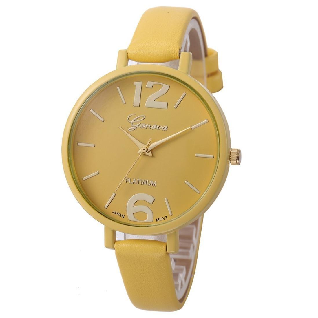 SMTSMT Women's Leather Analog Quartz Wrist Watch-Yellow