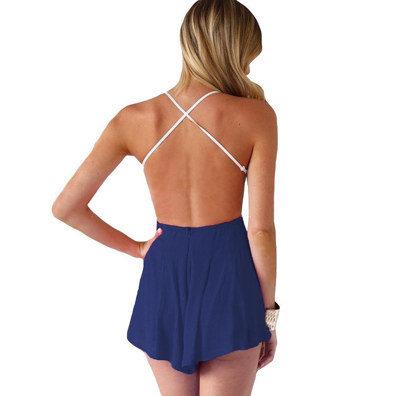 Bingirl Goldensat Women Summer Backless Chiffon Short Jumpsuit