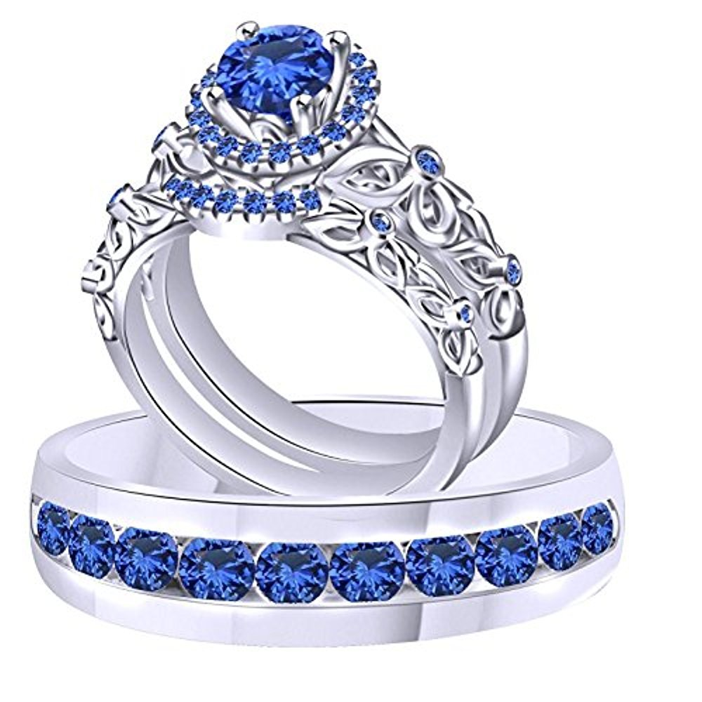 2.00 Carat Round Blue Sapphire 14K White Gold Plated Engagement His & Her Trio Ring Set .925 Sterling Silver CB-1001