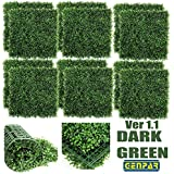 """GENPAR Artificial Boxwood Hedge 33 SQ Feet (20"""" x 20"""") UV Protection Indoor Outdoor Greenery Topiary Home Decor Backyard Garden Decoration Privacy Fence Screen Faux Ivy (Dark Green)"""