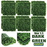 GENPAR Artificial Boxwood Panels 12 Pieces 20' x 20' Cover 33 SQ FT Topiary Hedge Plant UV Protected Privacy Screen Outdoor Indoor FAUX Garden Fence Backyard Home Decor Greenery Walls (NEW Dark Green)